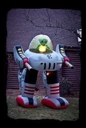Morbid Airblown Halloween Inflatable (Lighted Alien Robot - 8 Ft Tall !)