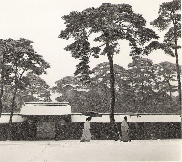 Werner Bischoff, Shinto priests in the court of the Meiji Temple, Tokyo, 1951