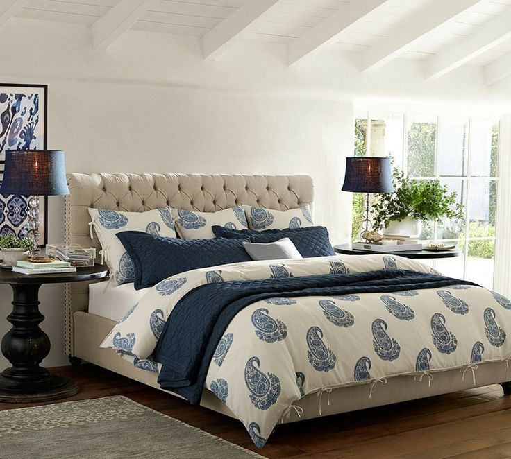 Traditional Master Bedroom With Pottery Barn Rayna Paisley Duvet Cover Sham Blue Exposed Beam Pb Framed Ikat Prints