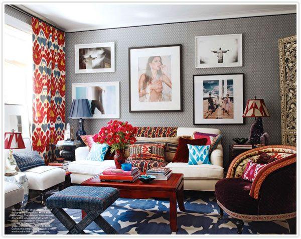 do you dare bold daring interior design interiors home ikat curtains rug carpet throw pillows decor