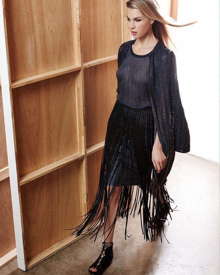 Elie Tahari Melody Long Distressed Leather Coat, Savannah Linen Asymmetric  Blouse, Jules Leather Fringe