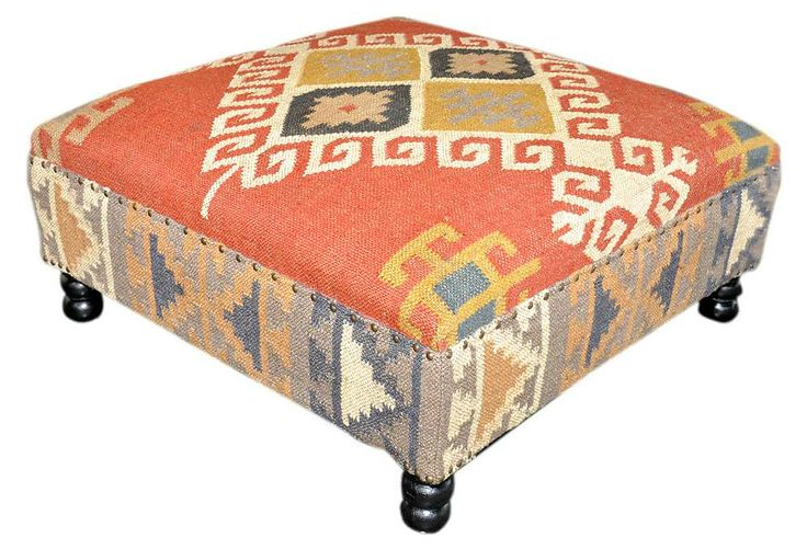 One Kings Lane - The Living Room - Olivia Kilim Ottoman - would like to reupholster our ottoman similarly but different colors / fabrics.