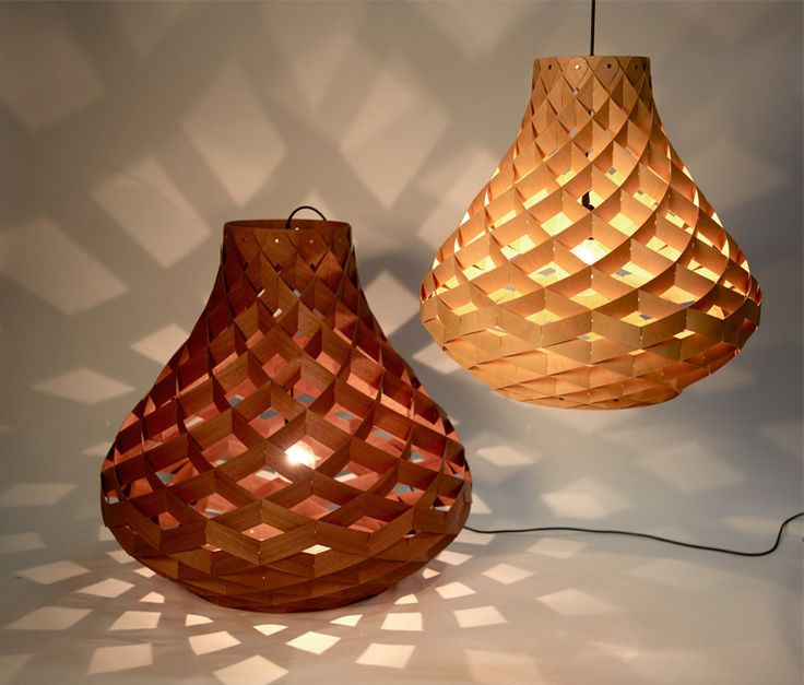 18 best felted lampshades images on pinterest light fixtures woven bamboo veneer pendant lighting by edward linacre greentooth Images