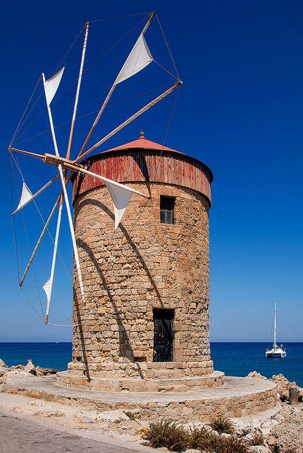 Rhodes - Mandraki Windmills by John & Tina Reid, via Flickr