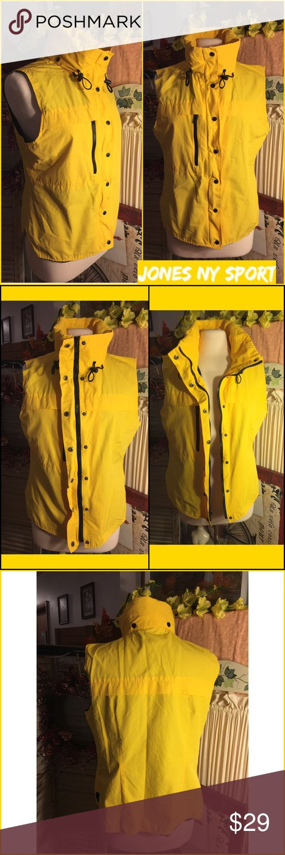 """SALE🌷NWOT-LARGE JONES NY SPORT YELLOW LINED VEST BRIGHT YELLOW WITH BLACK TRIM BRAND NEW ( RETAIL $79) JONES NEW YORK SPORTSWEAR VEST. SHELL:52% NYLON/48% COTTON. 100% POLYESTER LINING/BOTTOM 100% ACETATE. LINING BLACK: SOLID BOTTOM/TOP MESH. ZIPPER CLOSE WITH BUTTON SNAPS AND TIE AT NECK. 24"""" LONG. LARGE. MEASUREMENTS LYING FLAT: 20"""" BUST; 21"""" HIPS ACROSS BOTTOM. PLEASE DO  NOT HESITATE TO ASK ANY QUESTIONS! #nwot #jonesnewyorksportswear #brightyellow #blacktrim #blacklined #vest Jones New…"""
