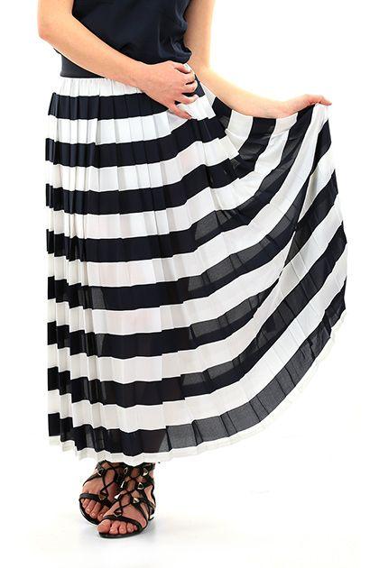 TWIN-SET SIMONA BARBIERI - Gonne - Abbigliamento - Maxi gonna a vita alta con fascia elastica, tessuto leggero a pieghe con disegno a righe. - OTTICO\INK - € 130.00