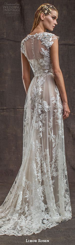 limor rosen bridal 2016 treasure aurora lace applique gorgeous sheath wedding dress two piece illusion cap sleeve crop top back view #lace #sheath #sheathweddingdress #weddingdresses