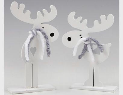 Adornos de Navidad: originales renos de madera en color blanco