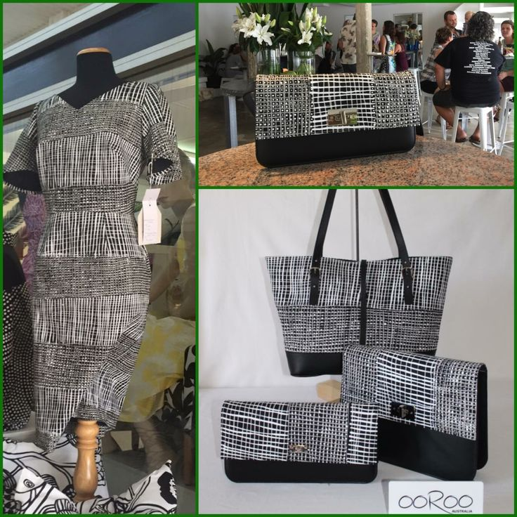 Ooroo Australia handbag and accessories range featuring Merrepen Art Coolamon by Artist Kieren (Karritpul)McTaggart. Raw Cloths dress design also in Coolamon .www.oorooaustralia.com.au