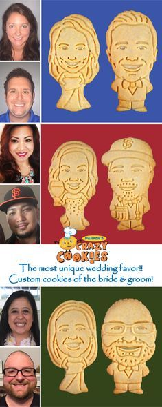 Dazzle your guests with these hilarious cookies of the bride & groom! Discover the magic at www.parkerscrazycookies.com. As seen on the food network and today show!