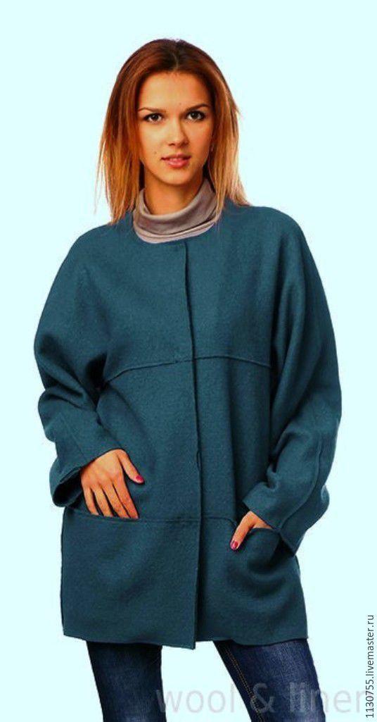 Купить ткань лоден Италия петроль (сине-зеленый) - бежевый, вареная шерсть, пальтовая ткань