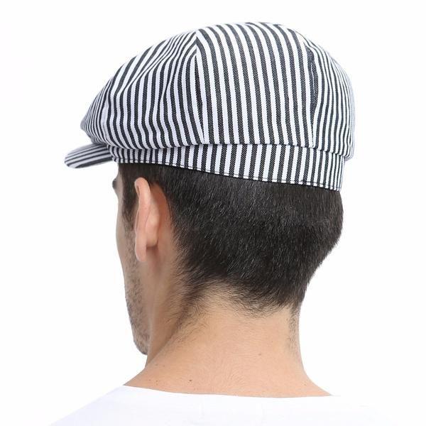 Summer Newsboy Flat Cap Black Navy Blue Stripe Ivy Caps 8 Panel Design Men Women Cotton Gatsby Hat 146 – Caps