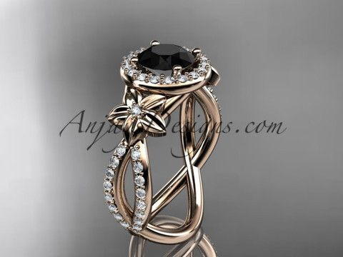 14k rose gold leaf and flower diamond unique engagement ring, wedding ring with a Black Diamonde center stone ADLR374