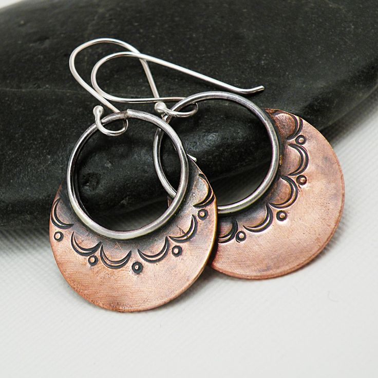 Sterling Silver Bohemian Hoop Earrings Stamped Copper Jewelry - Boho Hoops