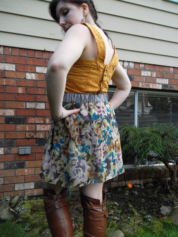 Floral Printed, Elastic Waist Gathered Skirt