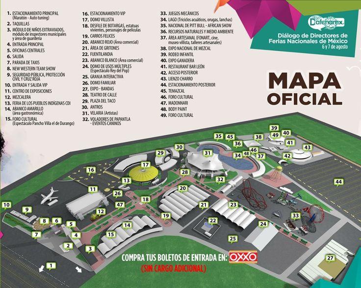 Mapa interactivo de las instalaciones de la Feria Nacional Durango (FENADU). ¡Conoce las ubicaciones de los atractivos que te ofrece!