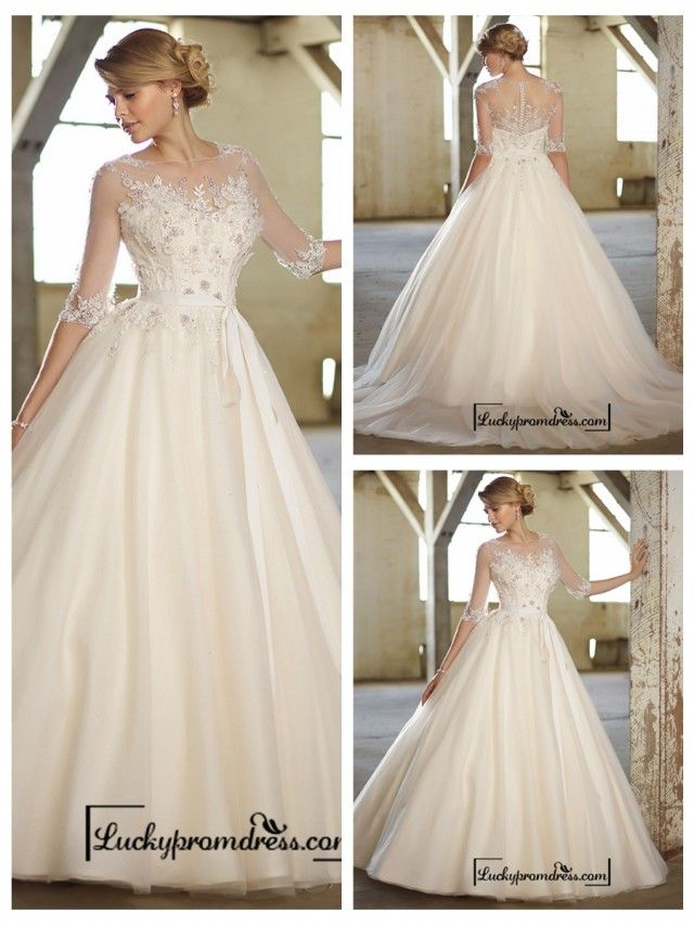 Illusion Boat Neckline Three-Quarter Sleeves Embellished Wedding Dresses