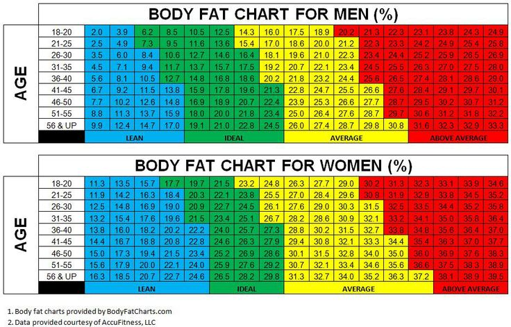 body fat percentage reference