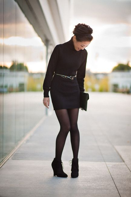 Black turtleneck sweater dress, black skinny waist belt, black ...