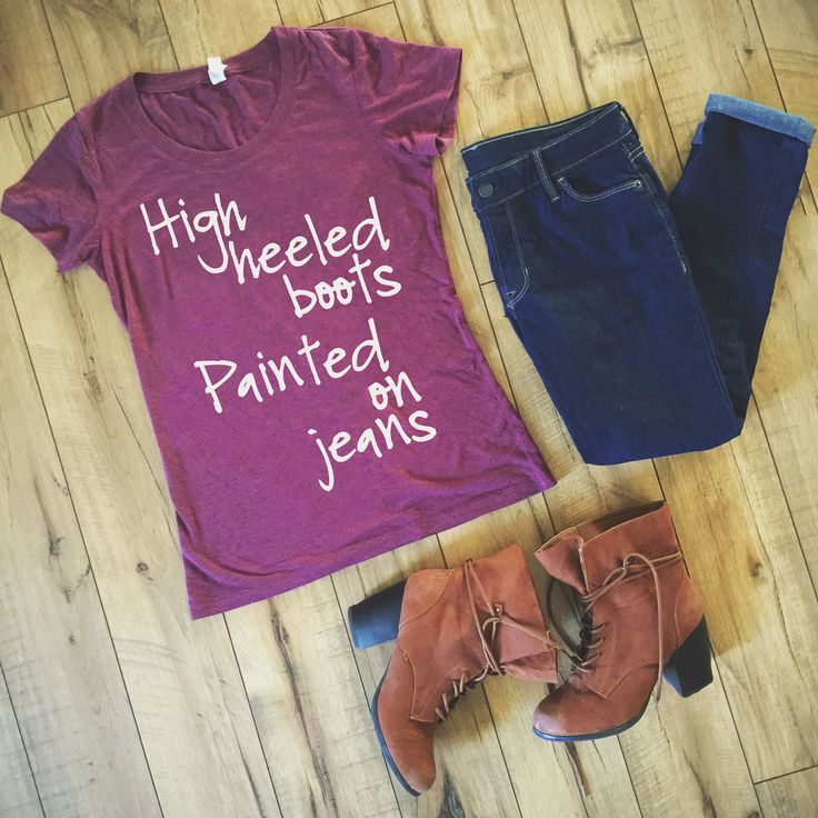 High Heeled Boots Painted on Jeans - Dolly Parton shirt by Folklore Couture