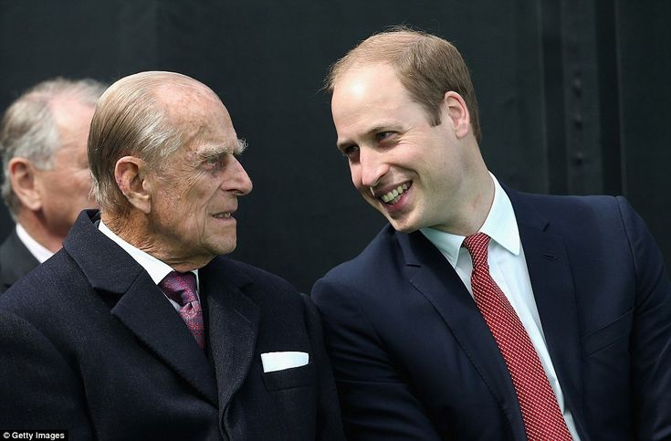 The Duke of Edinburgh and Prince William were also at the ceremony, where they smiled at each other during a conversation this morning June 2015