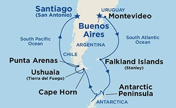 Map showing the port stops for Antarctica & Cape Horn. For ...