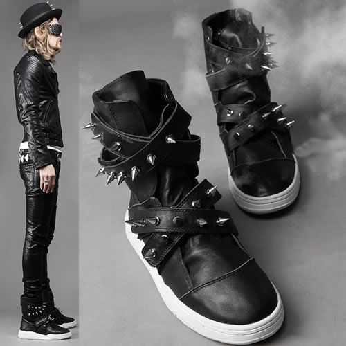 Black Leather Bullet Studded Punk Fashion Battle Boots for Men Mens SKU-1280013. Fuck men, I'd wear these..