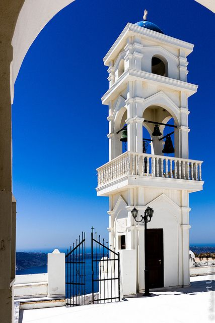 Bell Tower, Church of Anastasi, Imerovigli, Santorini. Our tips for 25 Fun Places to Visit in Greece: http://www.europealacarte.co.uk/blog/2012/07/31/what-to-do-greece/