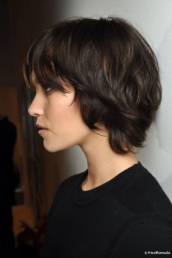 Long pixie haircut.