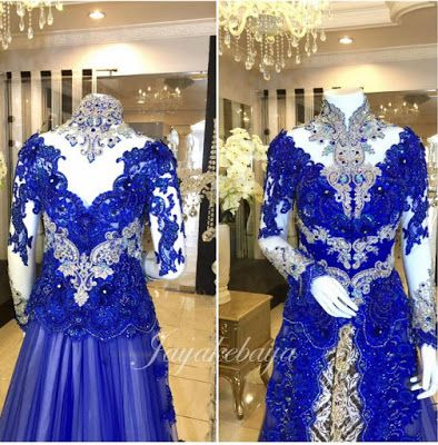 who like blu color? here find kebaya modern lace with long tail 2016