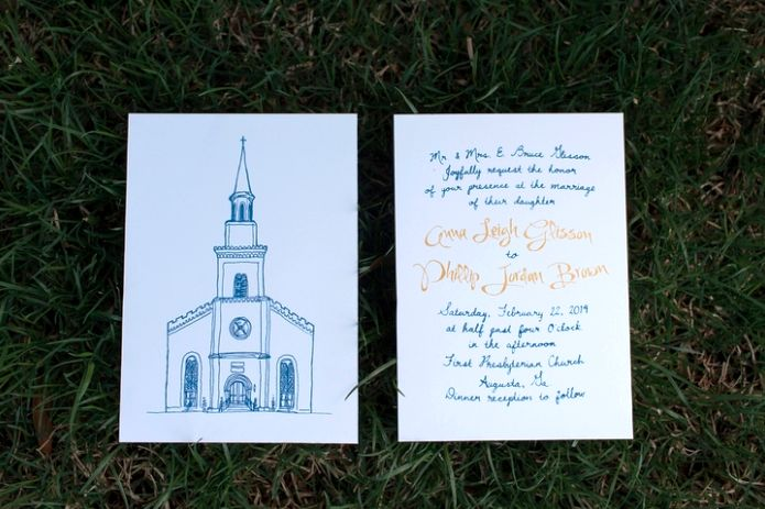 Hand-drawn, Hand-lettered Invitation. Featured on the knot.com. from bensonbensonco.com