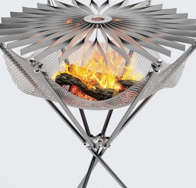 tragbarer edelstahl-grill- vermittelt die atmosphäre des lagerfeuers