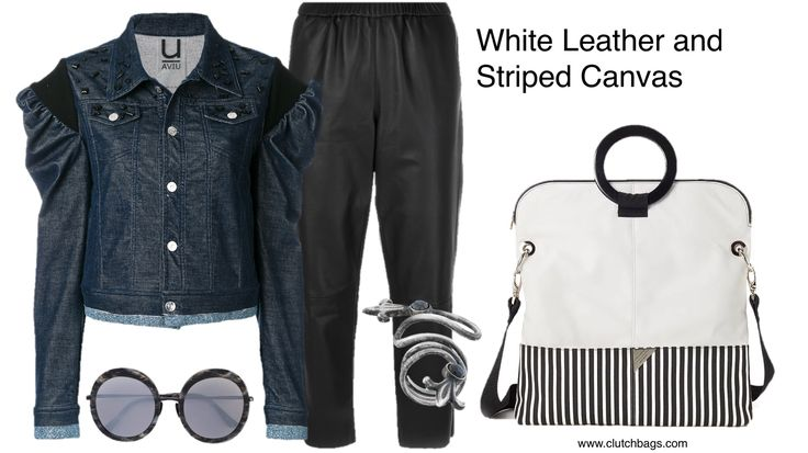 Define cool and chic effortless dressing! The White Leather and Striped Canvas Tote by #Lindabuschpc combined with ruffled denim and leather is very stylish! This Tote is very versatile you can wear it cross body, shoulder style or grab it by the handles! It features 8 inside pockets so you can organize your personal items easily! What are you carrying this weekend?  Made in USA. Follow us on Pinterest & Tumbler @ Clutchbags.com Clutch It and Go! www.clutchbags.com…