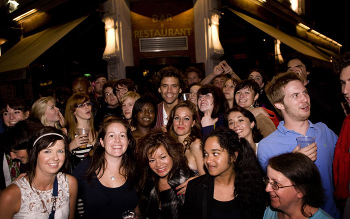 Mika and fans @ his twitter party in a London Bar Sept 2009