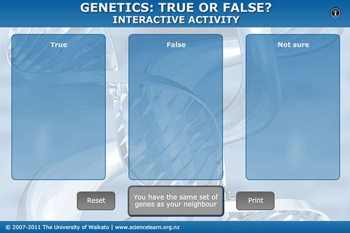Student Activity - Genetics: true or false?  In this activity, students use an interactive or paper-based graphic organiser to explore common alternative conceptions about genetics. This activity can be done individually, in pairs or as a whole class.