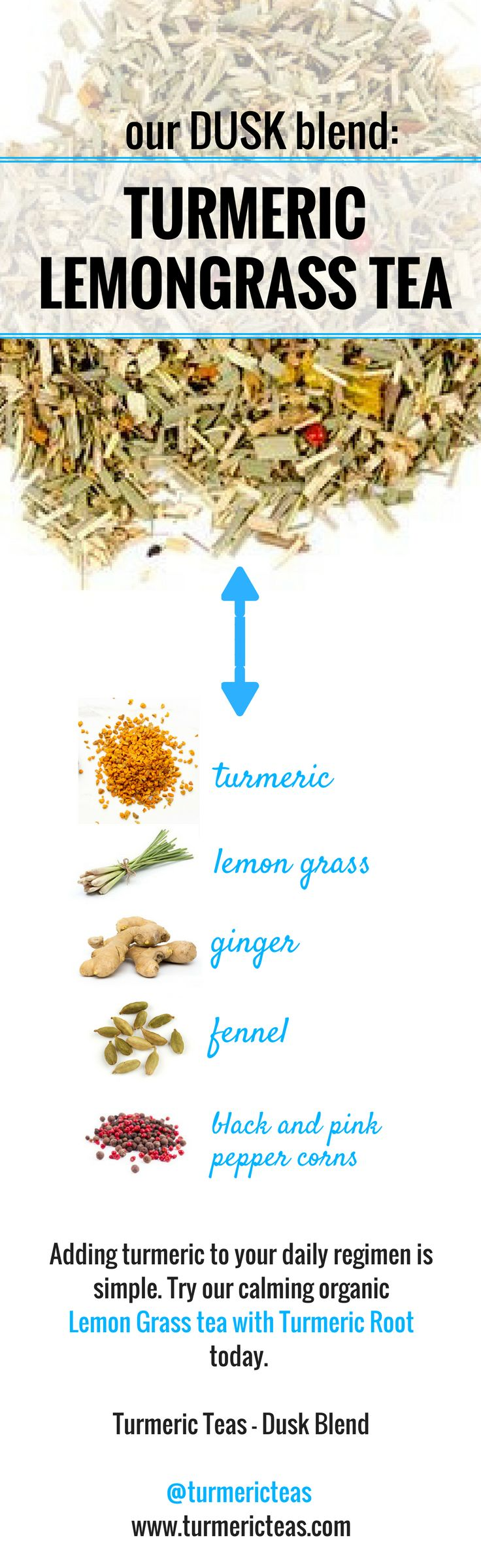 What's inside our Turmeric Teas Dusk blend? Our calming organic lemon grass loose leaf tea with turmeric root is a delicious blend of turmeric, lemon grass, ginger, fennel and black and pink pepper corns. Click to view the full recipe for our Lemongrass tea and purchase online on our website! #turmericteas #turmeric #healthyteas #organicteas #healthy #organic