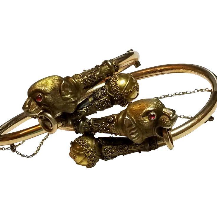 Victorian Lion Head, Door Knocker Bypass Bracelets, Gold Filled, Wedding, Engagement, Betrothal, Bride's, Antique, Hinged Bangle