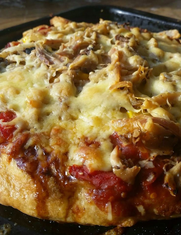 Homemade Pulled chicken sweetcorn and cheese pizza