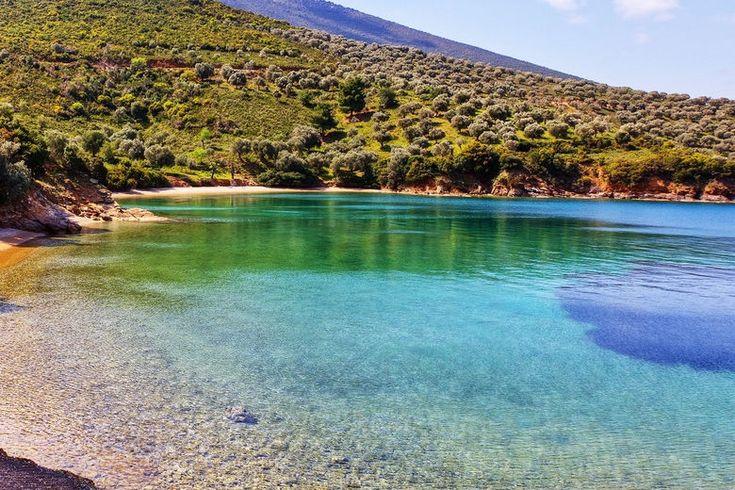Emerald water at a beach in Pelion