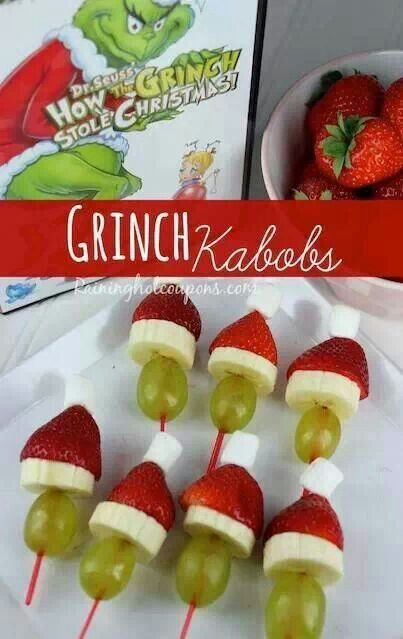 Grinch kabobs green grape banana and a strawberry preferably Christmas so cute I'm gonna do this next year