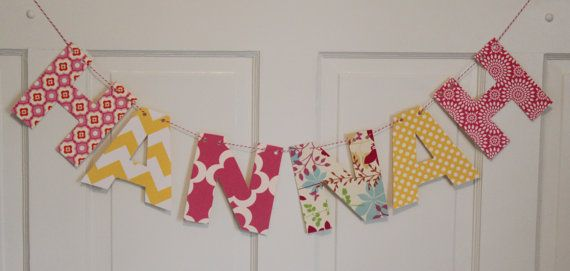 FABRIC NAME BANNER Bunting You Pick Fabric Personalized 6 Letters on Etsy, $23.95