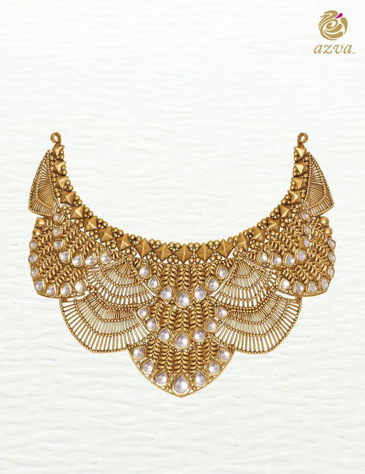 Azva gold necklace with intricate wire work and kundan. Modern bridal jewellery by Azva. #Goldjewellery #luxury #style