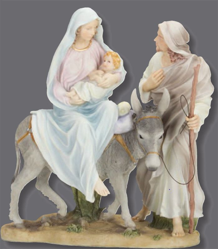 "Candabean Collectibles  - Galleria Divina ROMAN Pastel 10"" H Flight to Egypt Mary Joseph Jesus , $54.50 (http://www.candabeancollectibles.com/galleria-divina-roman-pastel-10-h-flight-to-egypt-mary-joseph-jesus/)"