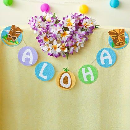 aloha banner free printable luau party pinterest banners. Black Bedroom Furniture Sets. Home Design Ideas