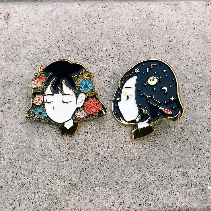 "My first ever enamel pin ""Serene"" and ""Reverie"" I try to use my favourit…"