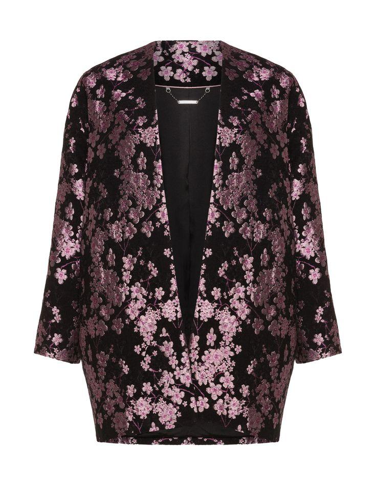 Manon Baptiste Manteau court à motif jacquard avec imprimé floral en noir / rose vif