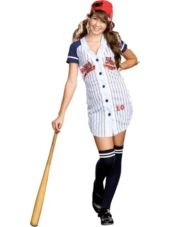 Teen Girls Grand Slam Baseball Costume-Clearance Costumes-Teen Girls Costumes-Teen Costumes-Halloween Costumes-Party City