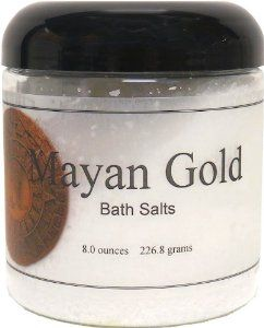 Bath Salts - Mayan Gold, 8 Ounces by Eclectic Lady. $6.99. Dye Free. 8 Ounces. Preservative Free. Close your eyes and relax in a warm bath with our bath salts. The bath salts come with a scoop for easy measuring. Mayan Gold is a mix of rare woods, spices, amber, sandalwood, patchouli, clary sage, vetiver, mandarin, lemon, grapefruit, neroli, vanilla, chocolate and musk.