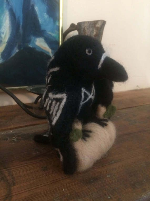 Needle Felt Odin Crow or Raven with Mannaz by StormhorseRuneworks