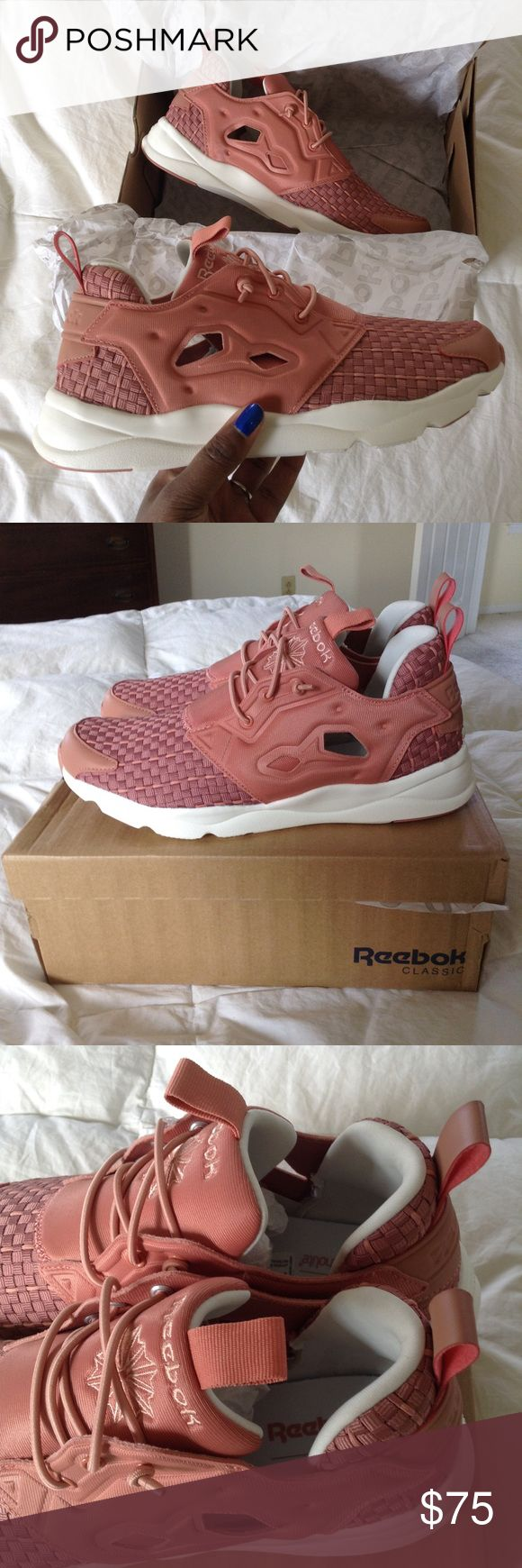 Reebok Classic Furylite Woven - Pink BRAND NEW WITH BOX • the most gorgeous dusty pink I've ever seen • never been worn • so sad to see these go but they don't get the love they deserve • beautiful woven design • cut outs on the sides for ventilation • elastic no-toe closure • super cushioned insole  Style/Color: V68870 Reebok Shoes Sneakers